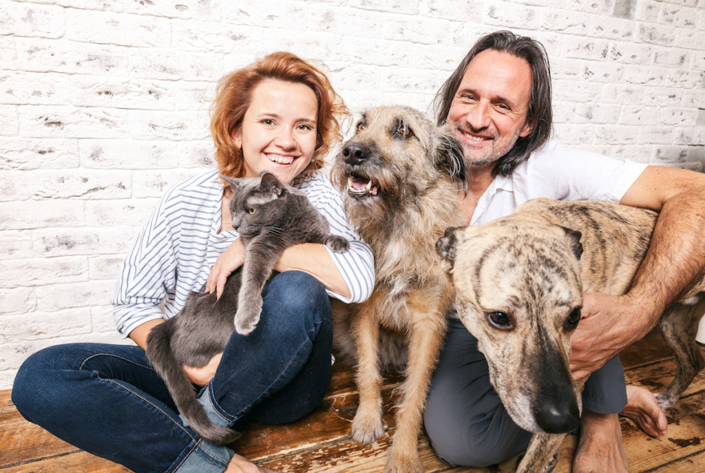 Foster Family with Dogs and Cat